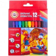 Фломастеры цветные 12 цветов . коробка картон . Koh-I-Noor