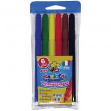 Фломастеры цветные 6 цветов в ассортименте конверт пластиковый .