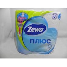 Бумага туалетная Zewa Плюс 4шт. 2-слойная белая .