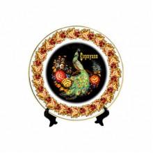 Тарелка декоративная с ободком на подставке Серпухов Жостов Павлин d200мм в коробке арт.Тар0018з