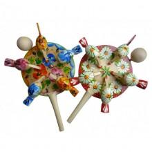 Игрушка круглая Курочки деревянная расписная без упаковки Вернисаж