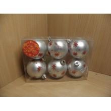 Шар пластик d 60мм Серебряный с красными снежинками без упаковки (6) арт.41932