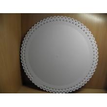 Поднос с ажурной каймой d380мм белый пластик одноразовый арт. 36238(33) Италика