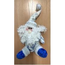 Сувенир-подвеска мягкий Дед Мороз бело-синий высота 10х25см арт.one006