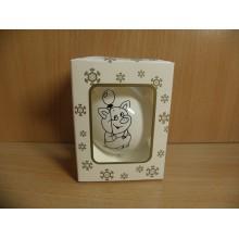 Шар стекло d 65мм Символ года Фунтик с шариком белый в коробке . арт.СГ-65-122
