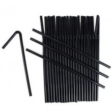 Трубочка-соломка 250шт. d5мм длина 210см с изгибом черная .