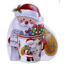Кружка 320мл с открыткой Дед Мороз фарфор