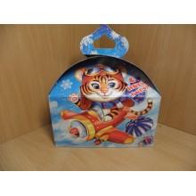 Коробка новогодняя для подарка 1000г Сундучок Скорость Символ года Тигр картон арт.ПДУ50138