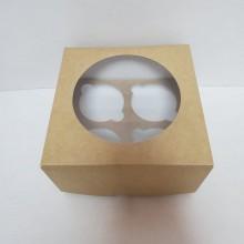 Коробка для капкейков с окном и ложементом-вкладышем на 4шт. 160х160х100мм крафт-картон арт.3.1.8