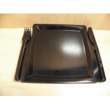 Набор одноразовой посуды на 3 персоны чёрный Комбо малая 225х195мм тарелка,вилка,нож ПС (17)