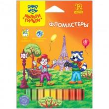 Фломастеры цветные 12 цветов Легко смываются коробка картон арт.WP_10716 Мульти-Пульти
