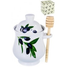Банка для мёдал Оливки с деревянной ложкой керамика в коробке арт.102-05074 Хозгрупп