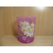 Горшок цветочный 125мм высота 145мм с поддоном пластик для орхидеи Декор 1,2л прозрачно-фиолетовый арт.М7543