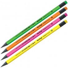 Карандаш простой чернографитный заточенный с ластиком Berlingo Flexy Neon HB арт.BP00880