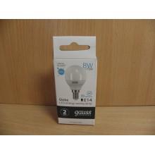 Лампа светодиодная цоколь Е14 8Вт Нейтральный свет Шарик матовый арт.53128 Gauss