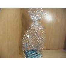 Пакет прозрачный жесткое дно 50х14х14см подарочный Горох