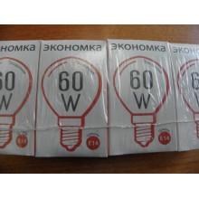 Лампа цоколь Е14 60Вт шар прозрачная . Экономка (10)