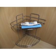 Полка для ванной 2-х ярусная угловая навесная Vetta вакуумное крепление нержавейка цвет . . арт.478-074 Гала-Центр