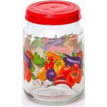 Банка для продуктов 0,72л Овощное ассорти с пластиковой крышкой стекло без упаковки арт.122-13009 Хозгрупп