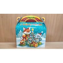 Коробка новогодняя для подарка 1300г Новогодний лес картон ПДУ05429 (120)