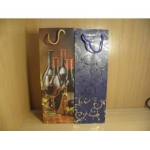 Сумка бумага для бутылки 12х36+10см Premium