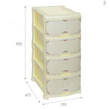 Комод 4 секции прямоугольный Violet 47х39х95см цвет Белёный дуб пластик арт.035291 код76539 Висс