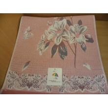 Полотенце гладкое хлопок 35х75см Цветы двустороннее без упаковки
