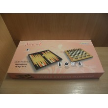 Шахматы,шашки,нарды 3 в 1 в коробке арт.8309Е ЮВ