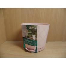 Горшок цветочный d 100мм высота 130мм с поддоном пластик Easy Grow Розовый сад арт.ING47010PC Конвент