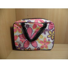 Косметичка-сумочка на молнии прямоугольная 25х18х10см Цветы ткань