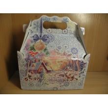 Коробка новогодняя для подарка 1200г Ларец Снежные Кружева картон арт.ПДУ50154