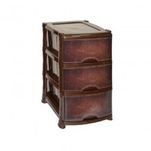 Комод 3 секции квадратный Кожа цвет коричневый пластик арт.035194