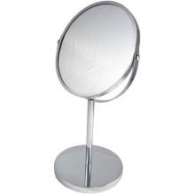 Зеркало двухсторонее настольное оправа металл d17см на высокой ножке круглое арт.210211