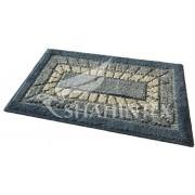 Коврик для ванной комнаты 45х75см прямоугольный полипропилен Shahintex Mosaic 56 синий арт.700945
